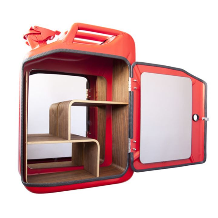 Toiletskab / Bathroom Cabinet - Jerry Can - Red m/ sorte hylder <!--@Ecom:Product.DefaultVariantComboName-->