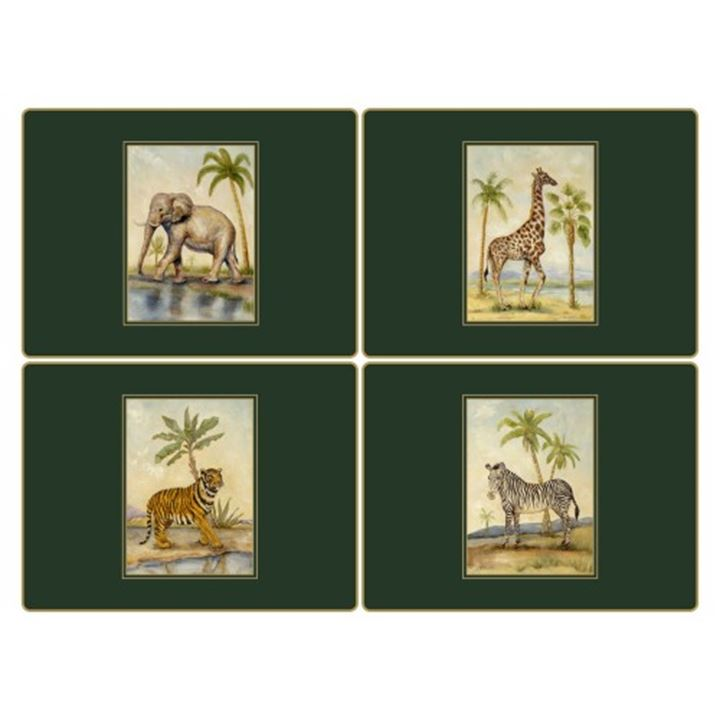 Placemats ´African Animals´ Large 4 stk. i æske. <!--@Ecom:Product.DefaultVariantComboName-->