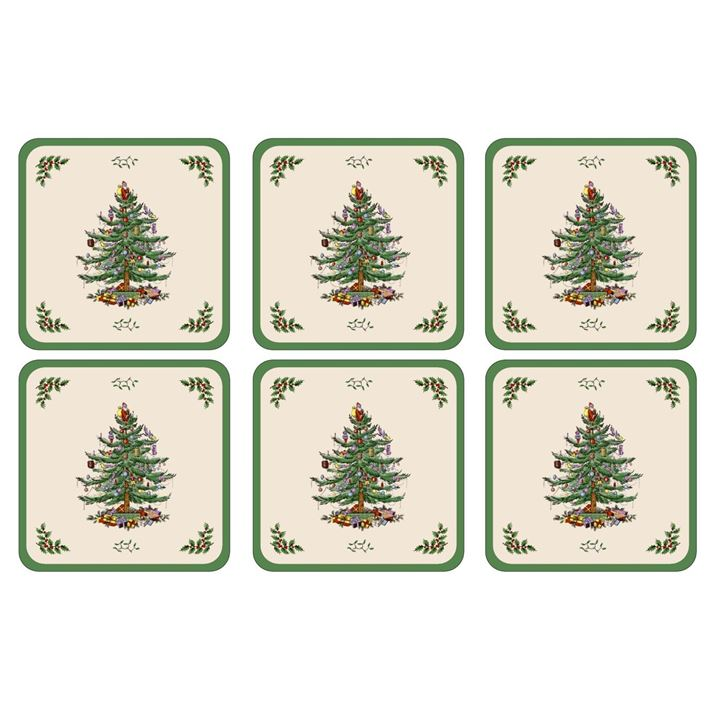 Coasters ´Christmas Tree´ 10,5 x 10,5 - 6 stk. i æske <!--@Ecom:Product.DefaultVariantComboName-->